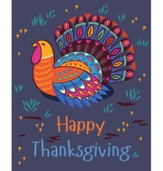 Happy thanksgiving turkey card vector