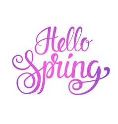 Hello spring season text banner over white vector