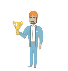 Hindu businessman holding a trophy vector