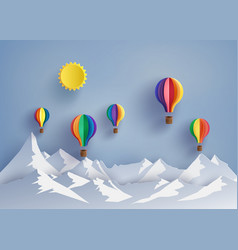 Hot air balloon and mountain vector