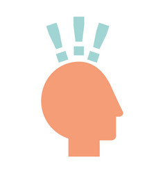 human head profile with exclamation mark vector image