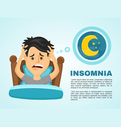 insomnia infographicyoung man suffers vector image vector image