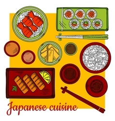 Japanese cuisine dinner colorful sketch icon vector