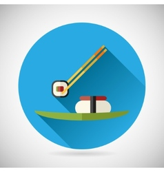 Japanese Food Symbol Sticks Holding Roll over the vector image vector image
