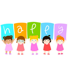 Kids holding hello board vector