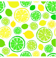 Lemons limes background painted pattern vector