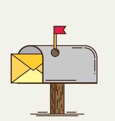 Mailbox icon flat vector