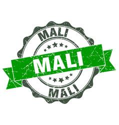 Mali round ribbon seal vector