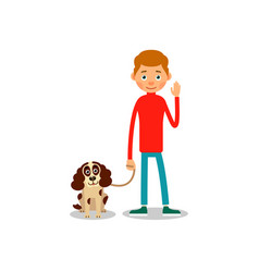 man and dog young boy is standing and his dog vector image vector image