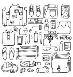 Man Travel Doodle Set vector image vector image