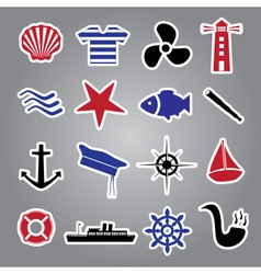 nautical icon stickers collection eps10 vector image vector image