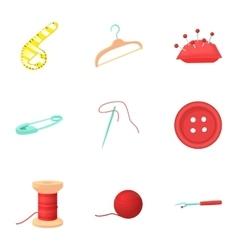 Needlework icons set cartoon style vector