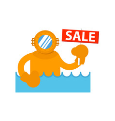 sale sign with diver in sea icon vector image vector image