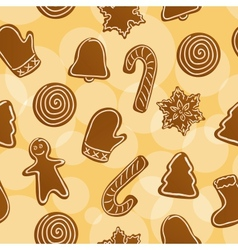 Seamless Christmas gingerbread background vector image vector image