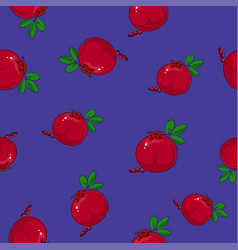 Seamless pattern pomegranate on purple background vector
