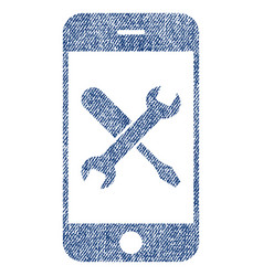 Smartphone tools fabric textured icon vector