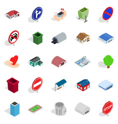 Town buildings icons set isometric style vector