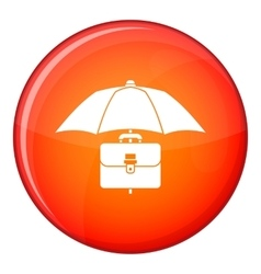 Umbrella and business case icon flat style vector