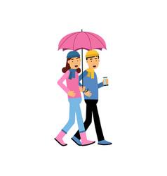 young couple walking under pink umbrella vector image