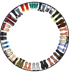 Shoes circle frame vector