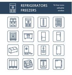 Refrigerators flat line icons fridge types vector