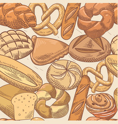 Bakery hand drawn seamless pattern with bread vector