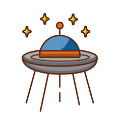 Ufo flying with stars vector