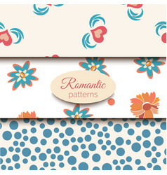 3 romantic seamless patterns pink blue vector image