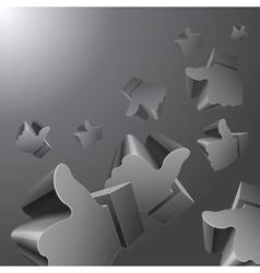 Flying 3d Like symbols on grey background vector image