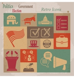 Election retro flat icons vector image