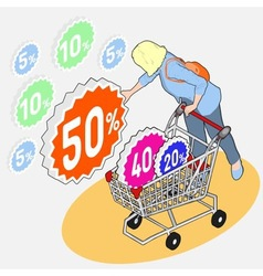 Isometric grocery shopping - sale - girl vector