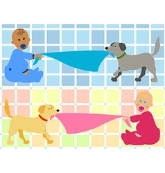 Cartoon baby with dog pulling blanket vector