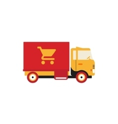 Red retro vintage delivery truck with cart icon vector