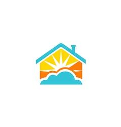 Shine house sun paradise logo vector