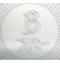 Letter b of lines and dots on the arm the vector