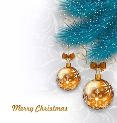 Christmas Background with Glass Balls and Fir vector image