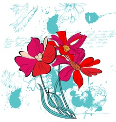 grunge background with beautiful flowers vector image