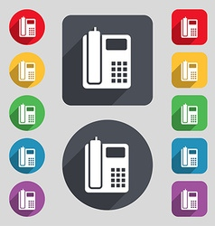 Home phone icon sign a set of 12 colored buttons vector