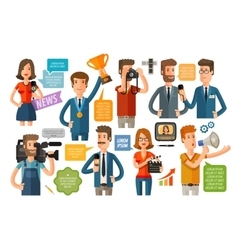 business infographics journalism and TV icons set vector image