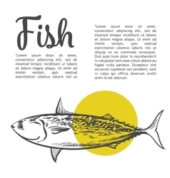 Fish with a yellow spot and lettering inscription vector