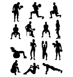 Dumbbell exercises silhouettes vector