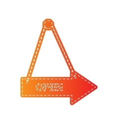 Open sign  orange applique isolated vector