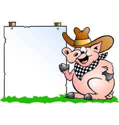 Hand-drawn of an pig chef in front of a sign vector