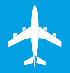 airplane icon white vector image vector image