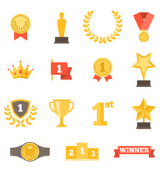 awards icons set vector image vector image