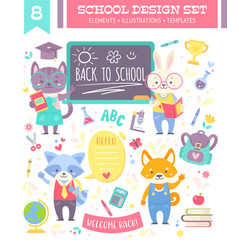 Back to school design set with animals vector