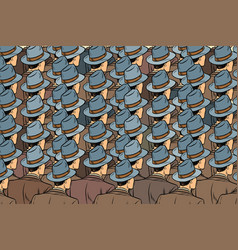 Background crowd of the same men stand back vector