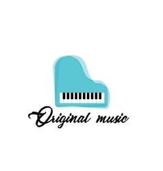 Blue music piano logocolor music template vector