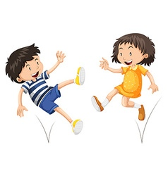 Boy and girl bouncing vector