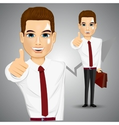 businessman giving thumbs up vector image vector image